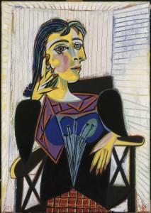 Pablo Picasso, Portrait de Dora Maar, 1937. Huile sur toile, 92 x 65 cm. Dation, 1979, MP158. © Succession Picasso 2013. Cliché : RMN-Grand Palais / Jean-Gilles Berizzi.